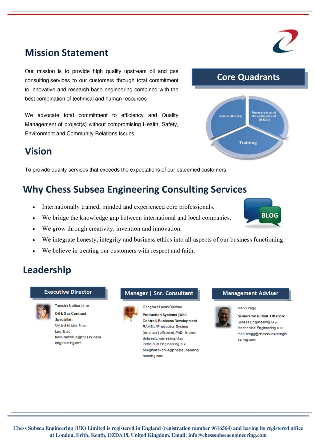 Engineering Consultancy Profile : Chess subsea engineering consulting company profile